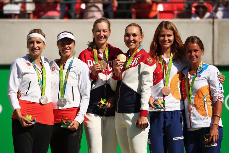 Lucie Safarova gets a bronze medal for Czech Republic at the Rio 2016 Olympics