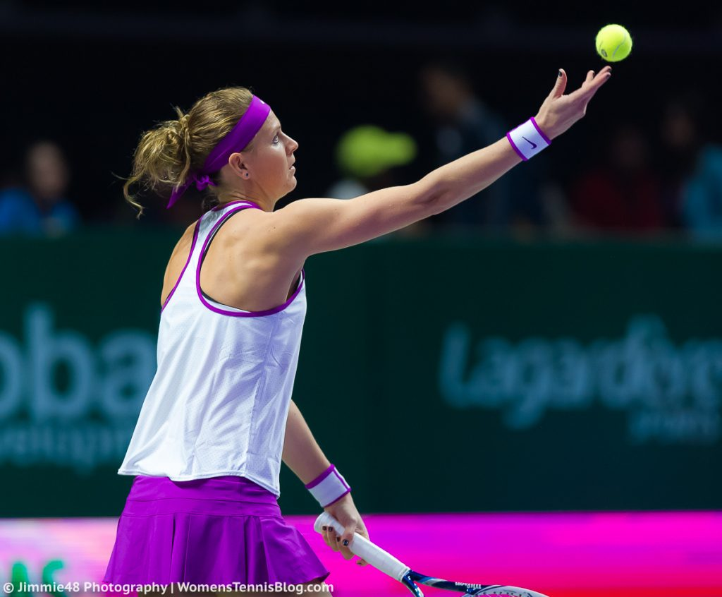 SINGAPORE, SINGAPORE - OCTOBER 26 : Lucie Safarova in action at the 2015 WTA Finals