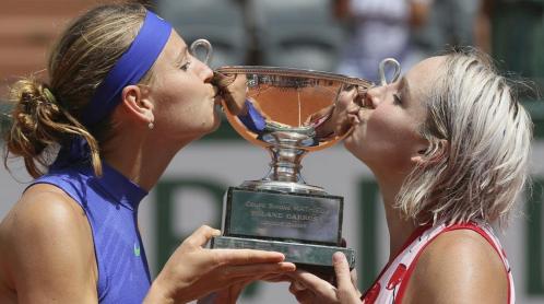 "Lucie Safarova and Bethanie Mattek-Sands, aka ""Team Bucie"", just won their 5th Grand Slam Title in Roland Garros. They defeated the Aussie team"