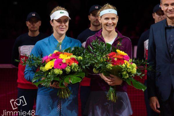 Stuttgart runners up Lucie Safarova and Pavlyuchenkova at the trophy ceremony