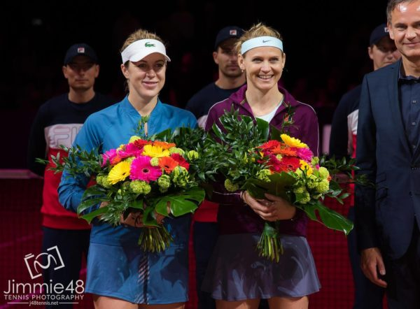 Stuttgart runners up Lucie Safarova and Pavlyuchenkova at the trophy ceremony