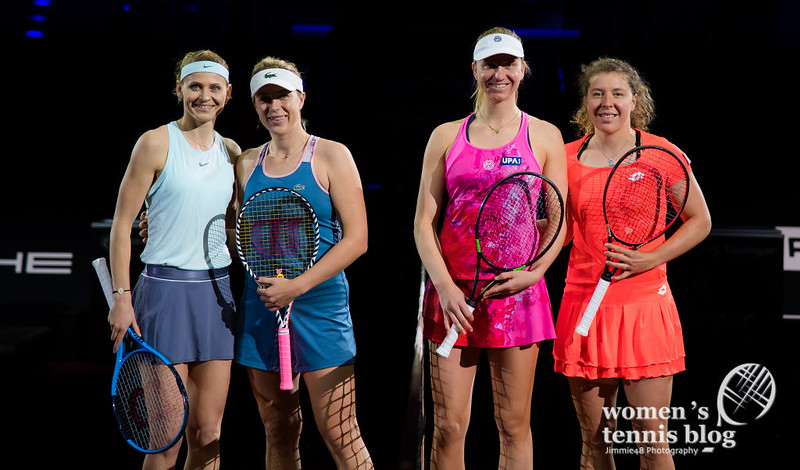 Stuttgart 2019 trophy ceremony: Safarova and Pavlyuchenkova and winners Mona Barthel and Anna-Lena Friedsam